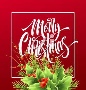 Merry Christmas greeting card vector template. Xmas hand lettering on red background. Realistic decorative holly tree twigs, red berries and fir illustration. Poster, postcard calligraphic lettering