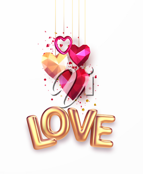 Valentines Day festive background with realistic metallic gold and red ruby low poly heart. Golden Lettering Love on white background. Vector illustration EPS10