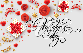 Hand drawn calligraphy lettering Happy Valentine Day. Color gift box, bows and ribbons. Vector illustration EPS10