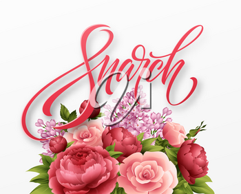 Happy womens day on March 8. Design of modern hand calligraphy with flower. Vector illustration EPS10
