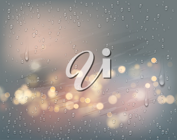 Night city lights view through a foggy window with raindrops. Vector illustration EPS10