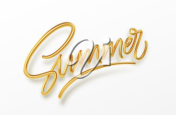 3D Realistic Golden Shiny Metallic Summer Handwriting Lettering Isolated on White Background. Vector illustration EPS10