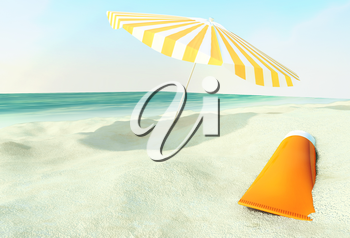 Beach scene with sunscreen and sun umbrella against ocean background.