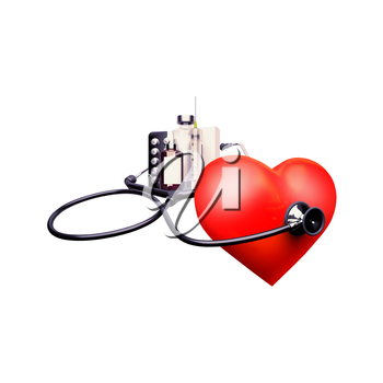 Stethoscope on the heart. Stethoscope on the heart isolat an white background.
