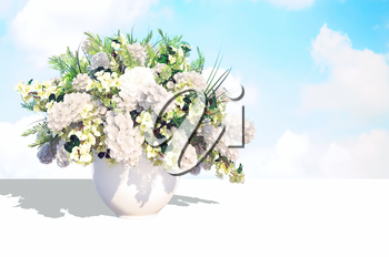 Jasmine bouquet in a white vase on a white table against  the sky background.