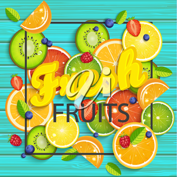 Blue wooden background with tropical fruits and berries, square frame and the lettering fresh summer. Vector illustration.