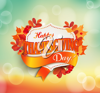 Happy thanksgiving day - autumn background with colorful leaves and vintage frame with text. EPS 10 vector illustration.