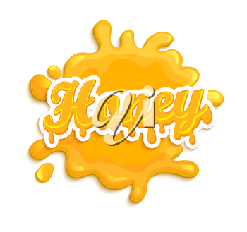 Honey label splash. Blot and lettering on white background. Splash and blot design, shape creative vector illustration.