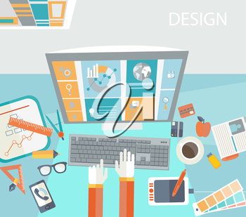 Flat modern design vector concept of creative office workspace, workplace.