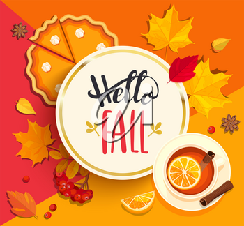 Hello Fall lettering in gold circle frame on geometric background with pupmkin pie, hot tea and autumn leaves. Vector illustration.