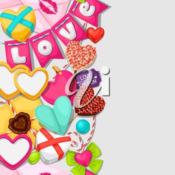 Seamless pattern with hearts, objects, decorations. Background can be used for Valentines Day and wedding.