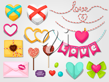 Set of hearts, objects, decorations. Can be used for design Valentines Day cards and wedding design