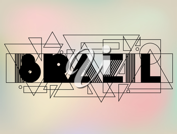 Brazil in abstract geometric style. Design for print on t-shirts, tourist brochure, advertising banner.
