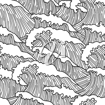 Sea seamless pattern with abstract  hand drawn waves. Background for textile printing and wrapping paper.