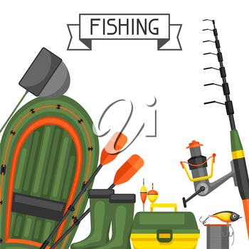 Background with fishing supplies. Design for flayers, covers, brochures and advertising booklets.