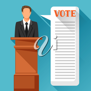 Candidate of party involved in debate. Political elections illustration for banners, web sites, banners and flayers.