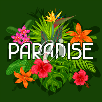 Background with stylized tropical plants, leaves and flowers. Image for advertising booklets, banners, flayers, cards, textile printing.