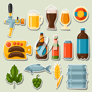 Beer stickers and objects set for design.