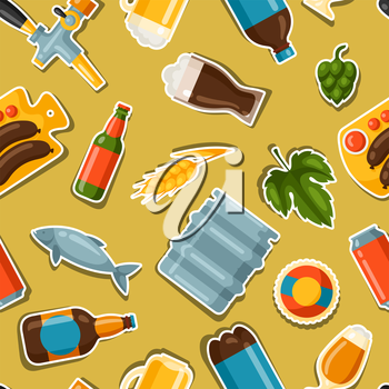 Seamless pattern with beer stickers and objects.