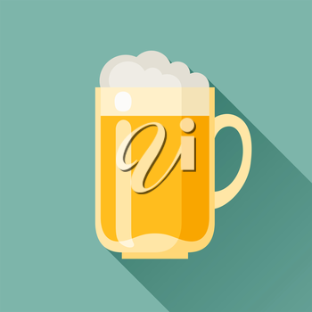 Illustration of beer mug in flat design style.