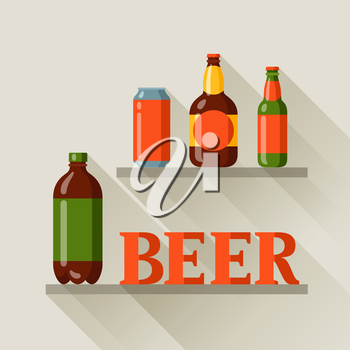 Background design with beer can and bottles.