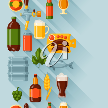 Seamless pattern with beer icons and objects.