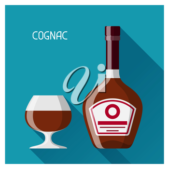 Bottle and glass of cognac in flat design style.