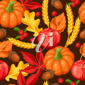 Thanksgiving Day or autumn seamless pattern. Ornament with vegetables and leaves.