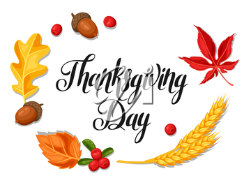 Thanksgiving Day greeting card. Background with autumn objects.