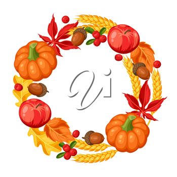 Thanksgiving Day or autumn frame. Decorative element with vegetables and leaves.