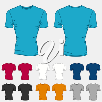 Set of colored t-shirts templates for men.
