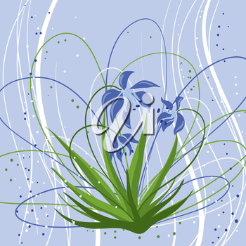 Pastel background with blue snowdrops. Vector illustration.