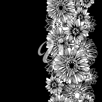 Vector background with hand drawn flowers. (Seamless Pattern).