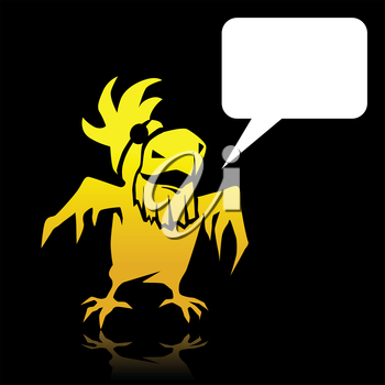 Angry cartoon yellow parrot pirate with space for text.