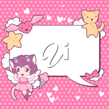 Background with doodle. Vector cute kawaii illustration.