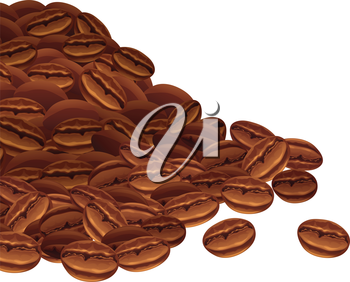 Vector background with scattered coffee beans.
