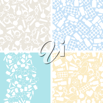 Medical and health care set of 4 seamless patterns.