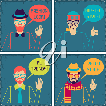 Hipster cards in retro style.