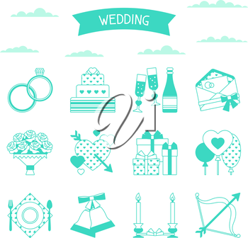 Set of retro wedding icons and design elements.