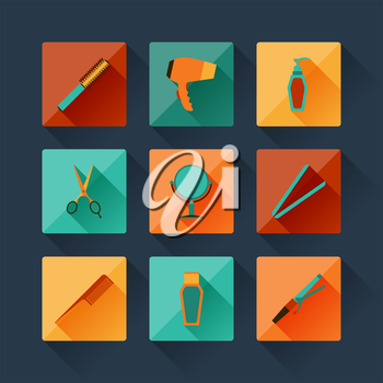 Set of hairdressing icons in flat design style.