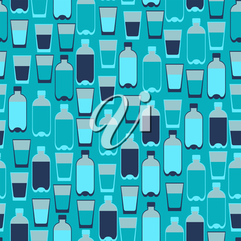 Seamless pattern with plastic bottles and glasses.