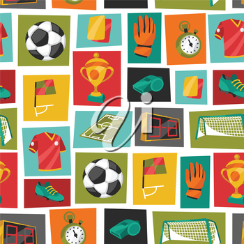 Sports seamless pattern with soccer football symbols in cartoon style.