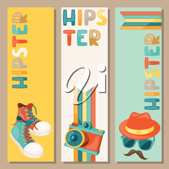 Hipster retro style vertical banners.