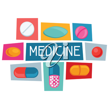 Medical background design with pills and capsules.