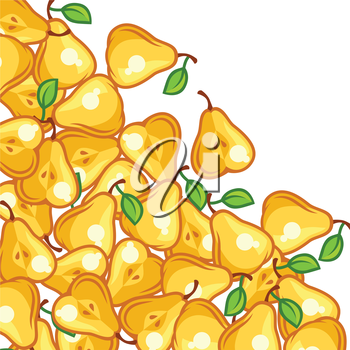 Background design with stylized fresh ripe pears.