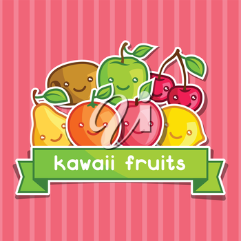 Background with cute kawaii smiling fruits stickers.