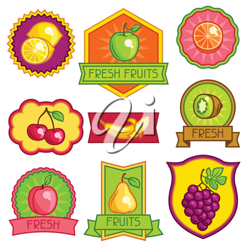 Set of badges and labels with stylized fresh ripe fruits.