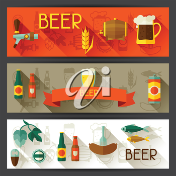 Banners with beer icons and objects in flat style.