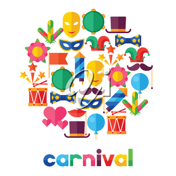 Celebration festive background with carnival flat icons and objects.