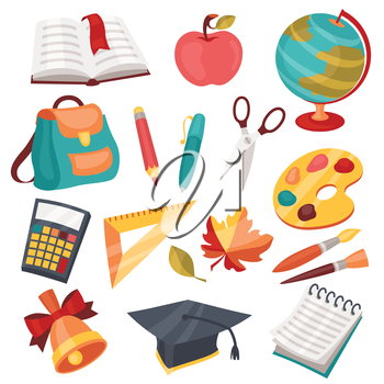 School and education icons symbols objects set.